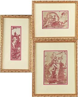 (3) Framed Toile Style Tapestry