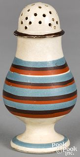 Mocha pepperpot, with blue and brown bands