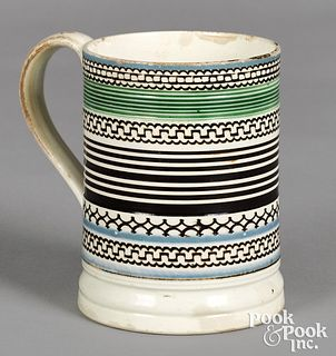 Mocha mug, with geometric black bands
