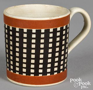 Mocha child's mug, with engine turned decoration