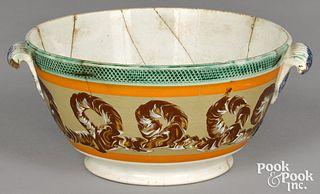 Mocha handled bowl, with earthworm decoration