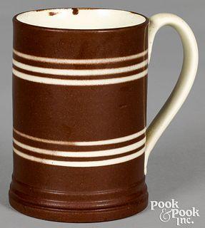 Mocha mug, with brown and ivory bands