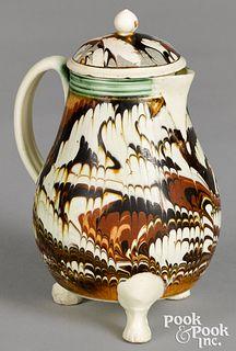 Mocha lidded pitcher, with marbleized glaze