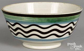 Mocha bowl, with wavy line decoration