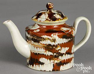 Small mocha teapot, with marbleized glaze