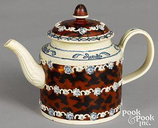 Mocha teapot, with mottled brown glaze