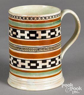 Mocha mug, with geometric bands