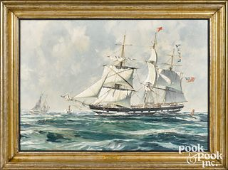 John Stobart oil on canvas of a packet ship