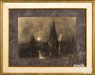 Charcoal moonlit harbor scene, signed Claude Mone