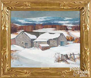 Arthur Meltzer oil on canvas winter landscape