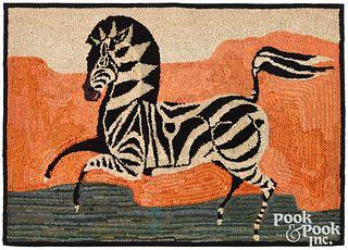 American hooked rug of a zebra