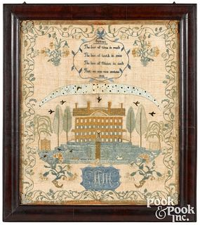 Important New Jersey silk on linen sampler
