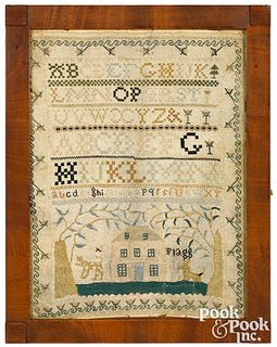 American silk on linen house sampler
