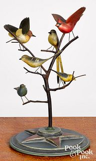 Carved and painted bird tree, early 20th c.