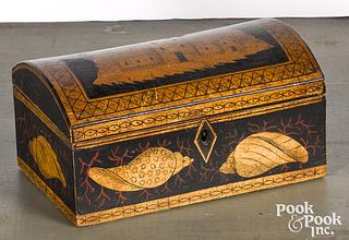 Painted dome lid dresser box, ca. 1830