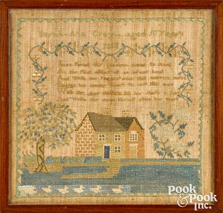 American silk on linen house sampler, dated 1818