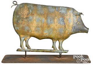 Swell bodied copper pig weathervane, 19th c.