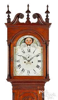 Delaware Chippendale walnut tall case clock