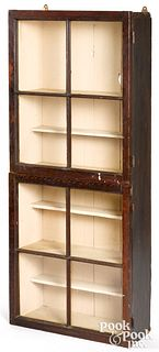 Painted pine display cabinet, 19th c.