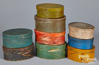 Nine painted Shaker bentwood boxes, 19th c.