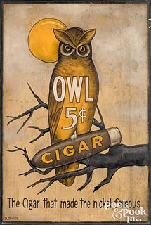 Painted pine Owl Cigar trade sign, early 20th c.