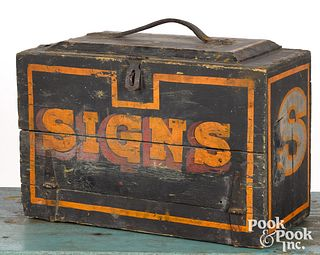 Painted sign makers box, late 19th c.