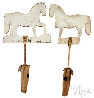 Pair of painted pine horse weathervanes