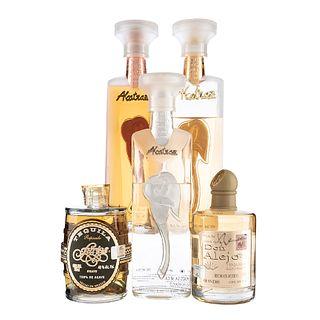 Tequila. a) Alcatraz. Añejo, reposado y blanco. b) Don Alejo. Reposado. c) Farias. Reposado. Total de piezas: 5.