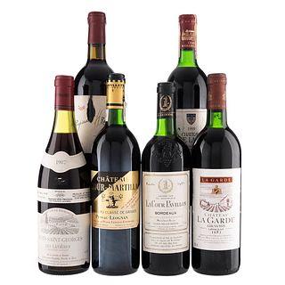 Vinos Tintos de España y Francia. a) Propiedad H. Remondo. b) Château Ramage La Batisse. c) La Cour Pavillon. Total de piezas: 6.