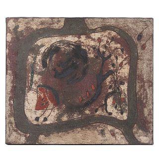 ROSENDO PÉREZ PINACHO. Mujer con sandía. Firmado y fechado '97 al reverso. Técnica mixta sobre tela.