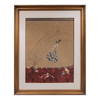 ANÓNIMO Escena onírica Técnica mixta sobre papel terciopelo sobre acrílico Enmarcado  94 x 75 cm con marco
