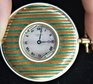 Rare Cartier Guilloche Enamel Pocket Watch 18k