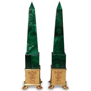 Pair Of Gilt Bronze Malachite Obelisks