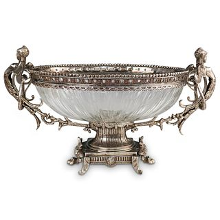 Large Silver Plated and Crystal Centerpiece Bowl