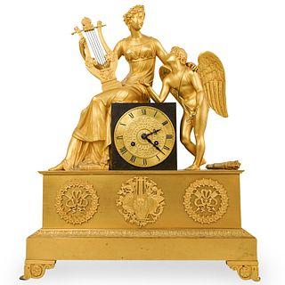 19th Cent. French Empire Gilt Bronze Mantel Clock