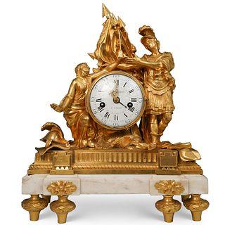 French Louis Goret Gilt Bronze Clock