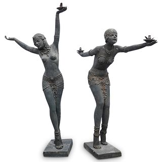 Pair Of Chiparus Style Garden Statues