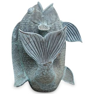 Dancing Koi Fish Garden Statue