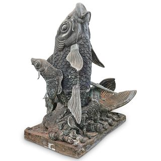 Monumental Koi Fish Garden Fountain
