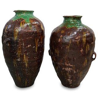 (2 Pc) Peruvian Palace Sized Cretan Oil Jars
