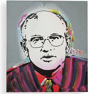 "Peter Max (German/American b.1937) Signed Acrylic on Canvas ""Gorbachev"""