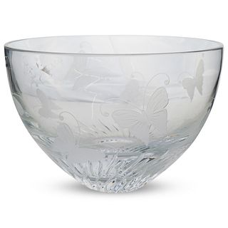 Lenox Etched Crystal Butterfly Vase