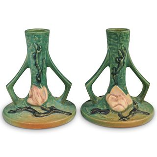 (2 Pc) Roseville Pottery Magnolia Green Candle Holders