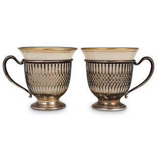 (2 Pc) Lenox Porcelain and Sterling Espresso Cups