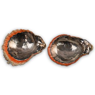 (2 Pc) Sterling Jewelry Shell Dish Set