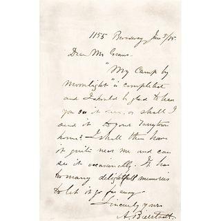1875 Western Painter ALBERT BIERSTADT ALS Mentions My Camp by Moonlight Painting