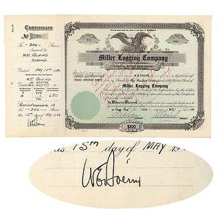 1936 WILLIAM E. BOEING Signed Ext. Rare Miller Logging Company Stock Certificate