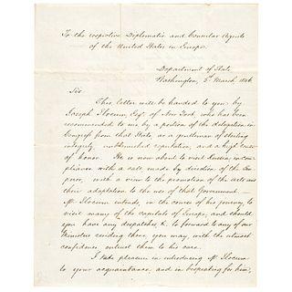 1846 JAMES BUCHANAN Manuscript Letter of Introduction as U.S. Secretary of State