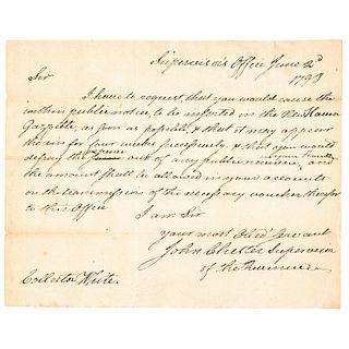JOHN CHESTER Autograph Letter Signed Connecticut 1798 Revolutionary War Hero