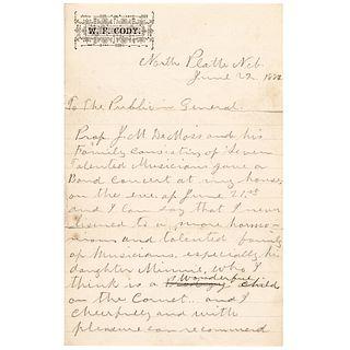 June 22, 1888 WILLIAM F. CODY / BUFFALO BILL Autograph Letter Signed